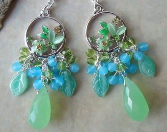 Multi Gemstone Cluster Earrings.Green Chalcedony.Jeweled.Blue Jade.Crystal.Silver.Bridal.Statement.Dangle.Chandelier.Leaf.Floral.Handmade.