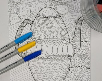 Tall Teapot Coloring Page Digital Download Zentangle ZIA