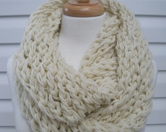 Hand Knitted Scarf Womens Scarf Cowl Fashion Accessories Women Infinity Scarf in Ecru by creationsbyellyn