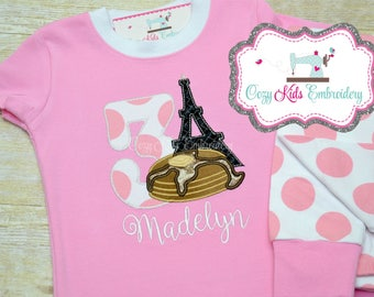Pancake pajamas, Birthday Pajamas, girl pancake pajamas, Pancakes in paris pajamas, Eiffel Tower Pajamas, pancake applique embroidery
