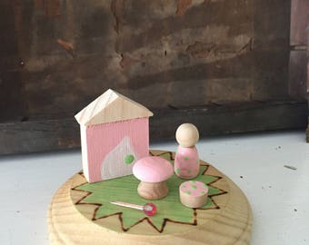 Perfeclty pink play set wooden peg doll waldorf