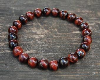Red Tiger Eye Bracelet, Tiger Eye 8mm Beads,Elastic Fits,Man,Woman,Pray,Boho,Yoga,Spirituality,Protection,Meditation,Good Luck