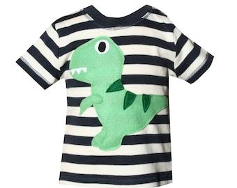 Dinosaur T-Shirt, Baby T-Shirt, Toddler T-Shirt, Baby Boy T-Shirt, Stripe TShirt, Baby Boy Clothes, Baby Gift, 1st Birthday, Applique Top
