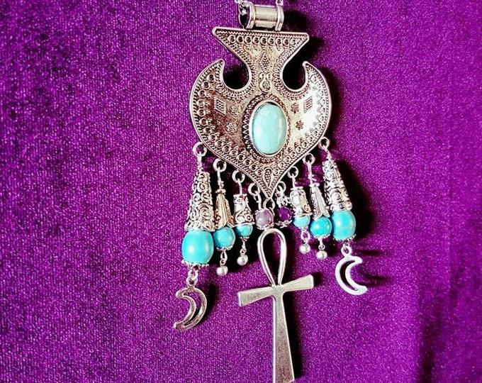 Turquoise Ankh Necklace - spiritual gemstone goth gothic boho neckpiece