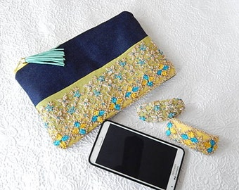 Blue yellow denim purse, beaded makeup bag, tassel zippered pouch,fashion accessory, womens accessory