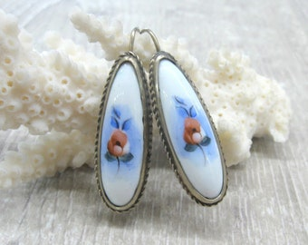 Mother's day gift vintage finift enamel jewelry white Teardrop enamel earrings floral jewelry red poppy purple rose earrings something blue