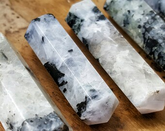 Rainbow Moonstone Double Terminated Point  - Hand Cut Natural Stone Point for Crystal Grids or Terrarium 256