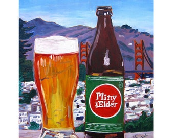 Pliny the Elder, Russian River Brewing, Craft Beer Gift, California Beer Art, Golden Gate Bridge, San Francisco Painting, Gift for Boyfriend