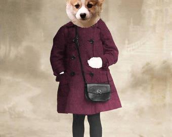 CORGI puppy dog girl Art digital Collage anthropomorphic Print Victorian steampunk fashion Altered Antique Photograph
