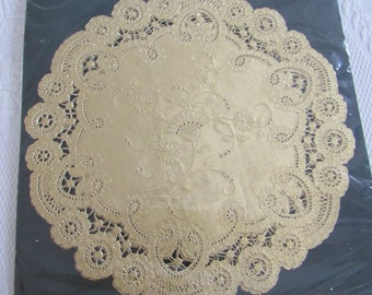 """Gold Paper Doilies - 4 Vintage GOLD FOIL Paper Lace  Doilies 10"""" Party Crafting Scrapbook Repurpose Table Decoration Card Making"""