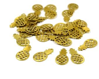 25 Pcs. Raw Brass 8x16 mm Pineapple Charm Findings