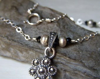 Genuine Marcasite Pendant Necklace, Sterling Silver, Petite Pendant with Black Spinel