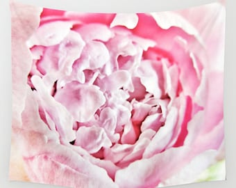 Pink Peony Wall Tapestry, Large Wall Art, Flower Tapestry, Pretty, Petals, Modern Decor,Nature,Wedding Gift, Pink, Dorm, Office, Blossom