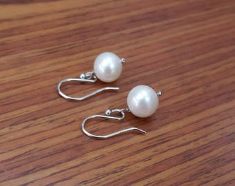8mm Round Pearl Earring Cultured Pearl Sterling  Silver French Hook Wholesale Price