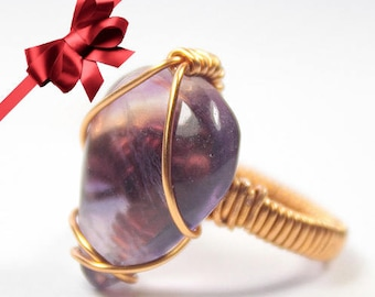 Purple Fluorite Ring size 6.5, Fluorite wrapped ring, Fluorite crystal wire ring,Wire wrapped Fluorite solitaire ring,Fluorite Stacking ring