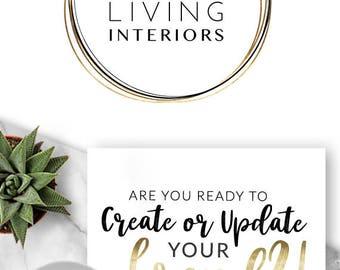 258 - Lumino Living, LOGO Premade Logo Design, Branding, Blog Header, Blog Title, Business, Brand, Blogger, Modern, Black and Gold, Rings