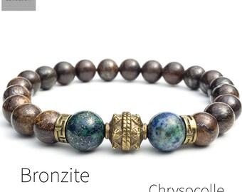 Men's bronzite azurite chrysocolle bracelet, yoga mala beaded stretch bracelet, natural gemstone bracelet, gift for men, Wildcoastjewels