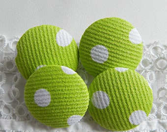 Fabric button green with polka dots, 24 mm / in 0.94