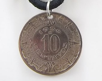 1936 Mexican Coin Necklace, Aztec, 10 Centavos, Coin Pendant, Mens Necklace, Womens Necklace, Vintage, Leather Cord