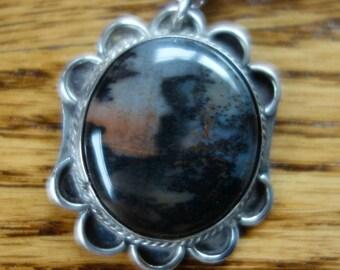 Vintage Petrified Wood Sterling Pendant Necklace