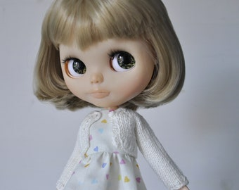 Knitted white cardigan for Blythe Pullip doll, sale