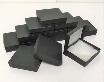 Matte Black Boxes - 20-count (3.5 x 3.5 x 1 in.) Square Cotton Filled Boxes