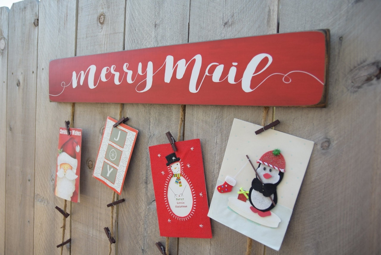 Christmas card merry mail holder card holder christmas request a custom order and have something made just for you kristyandbryce Choice Image