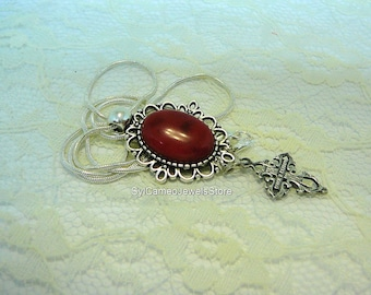Red Coral Cab Stone Pendant Silver Cross Charm Snake Chain Necklace Jewelry SylCameoJewelsStore
