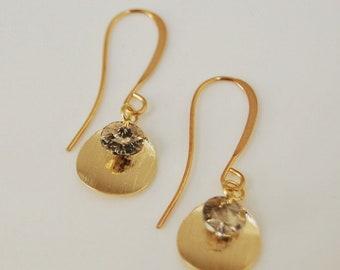 Dainty earrings - Swarovski crystal earrings - gold filled disc earrings - minimalist earrings - everyday earrings - bridal jewellery