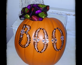 Halloween 1/2 Pumpkin Wreath Wall Hanging Decor Halloween Pumpkin Wreath Rhinestones Boo Half Pumpkin Chic OOAK Decoration