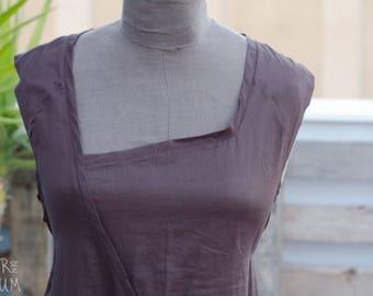 90's Lilith Brown Dress - Designer Summer Dress - Long Sleeveless Cotton Dress