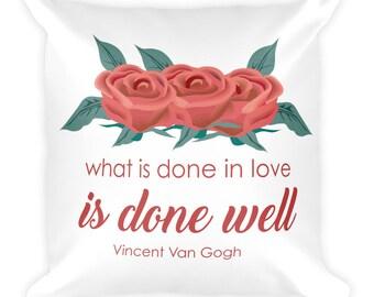 Rose Van Gogh   Square Pillow