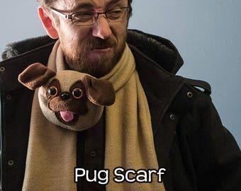 Fleece Pug Scarf Tan