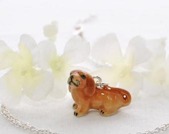 Small Dachshund Dog Pendant Necklace Caramel - Dachshund Jewelry -Doxie Necklace -Dachshund Pendant - Doxy Jewelry -  Dachshund Necklace