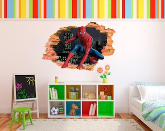 Spider Man Smashed 3D Wall Decal  Removable 3D Sticker, Spider Man Decal