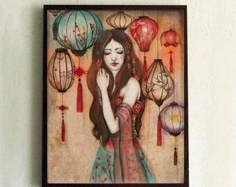 "Print - poster - Chinese lantern - Asian Girl - ""The Night of the lanterns"""