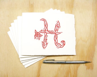 Letter H Stationery - Personalized Gift - Set of 6 Block Printed Cards