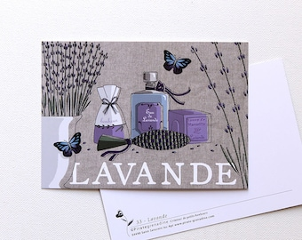 "Illustrated postcard ""Lavender"" by Pirate squash"