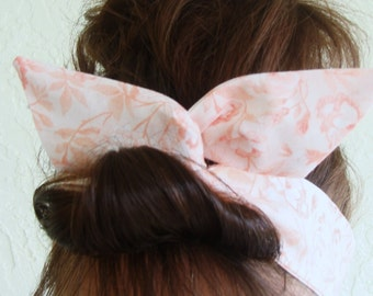 Dolly Bow Wire Headband Peach Coral Rockabilly Pin Up Hair Accessory for  Teens Women Girls