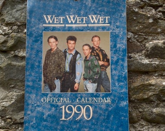 Very Rare Wet Wet Wet Official 1990 Athena Calendar SAME DATES AS 2018 Music Memorabilia Collectable The Wets Marti Pellow Scottish Band