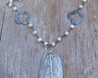 Freshwater Pearl Necklace, Long Pearl Necklace, Sage Leaf Necklace, Pearl Necklace