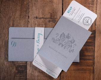 Boarding Pass And PassPort Combination Wedding Invitation, Silver Boarding Pass And PassPort Wedding Invitation, Destination Invitation