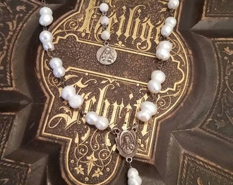 Vintage Religious Rosary Freshwater Pearl Necklace, ooak,Repurposed, Religious Assemblage