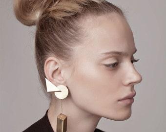 Erin Earring, gold ear climber earrings, gold statement earrings, gold geometric earrings, ear climber gold, dangle climber earrings