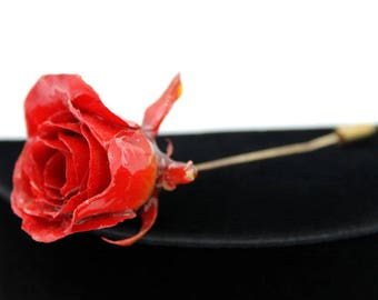 Real Rose Stick Pin Brooch, ca. 1970s