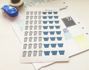 Trash and recycling stickers for planners and journals (Hand-Drawn)
