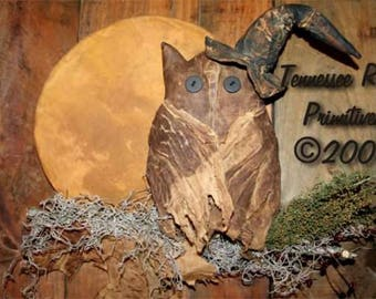 Tennessee Ridge Primitives   Witch Owl and Moon Door Hanger - Pattern Only