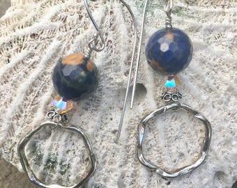 EarDangles: Sterling Silver, Sodalite, and Swarovski Crystal