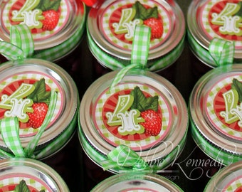 Strawberry Birthday Party Circle Tags - DIY Printable - Do-It-Yourself - Very Berry Birthday Party