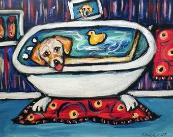 Dog in Bathtub Custom Pet Portrait Painting Personalized pet artwork gift